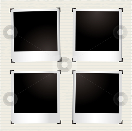 Four instant picture stock vector clipart, Page from a photo album with instant photographs by Michael Travers