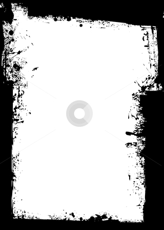 Grunge border splat stock vector clipart, Black grunge background border with blank white space by Michael Travers