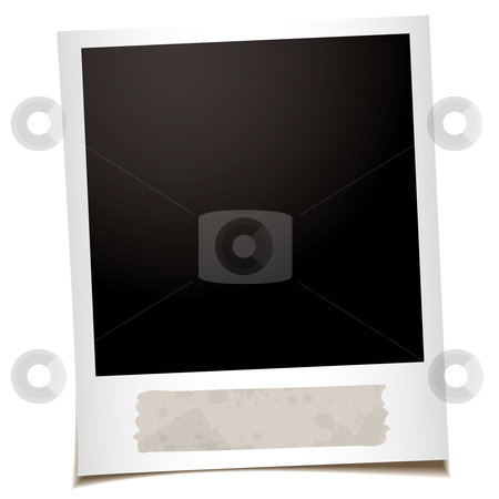 Single instant tape stock vector clipart, Single instant photograph with old piece of masking tape by Michael Travers