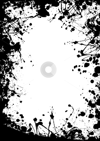 Large blob border stock vector clipart, Black grunge border with ink splats making a frame by Michael Travers