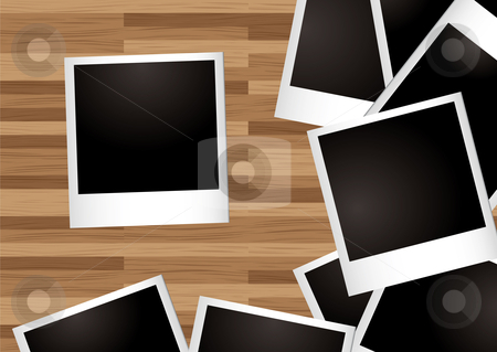 Desk instant photo stock vector clipart, Pile of instant photographs spread on a wooden desk by Michael Travers