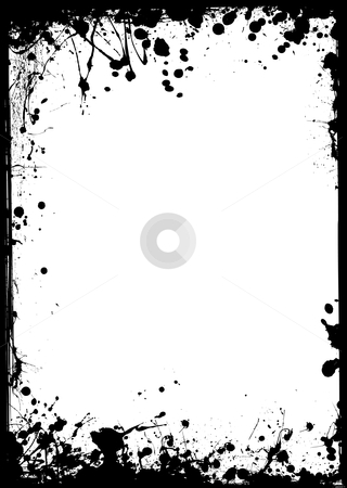 Thin grunge border stock vector clipart, Black ink border with white center and ink splat by Michael Travers