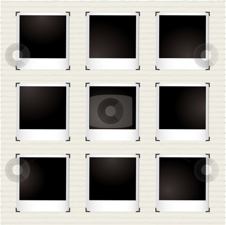 Instant picture gallery stock vector clipart, Instant photo gallery with metal corner holders and copyspace by Michael Travers