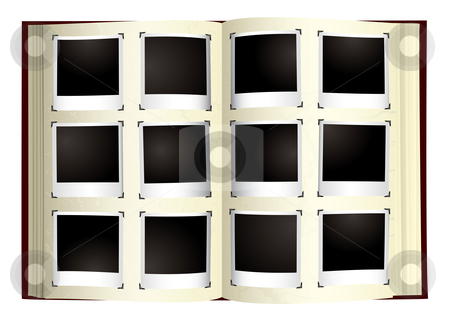 Photo album stock vector clipart, Old fashioned photo album with instant photographs by Michael Travers