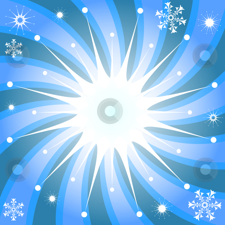 Christmas background with snowflakes and rays stock vector clipart, Christmas background with snowflakes and a place for the text by Olga Drozdova