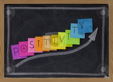 Positivity concept on blackboard stock photo, Positivity concept on blackboard - color sticky notes and white chalk drawing by Marek Uliasz