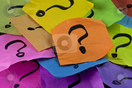 Questions or decision making concept stock photo, Questions, decision making or uncertainty concept - a pile of colorful crumpled sticky notes with question marks by Marek Uliasz