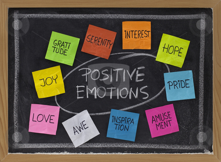 Ten positive emotions stock photo, Concept of positive emotions - color sticky notes and white chalk handwriting on blackboard by Marek Uliasz