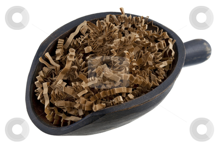 Scoop of brown shredded paper, recycling concept stock photo, Shredded brown packing paper on a rustic wooden scoop isolated on white - recycling or reusing concept by Marek Uliasz