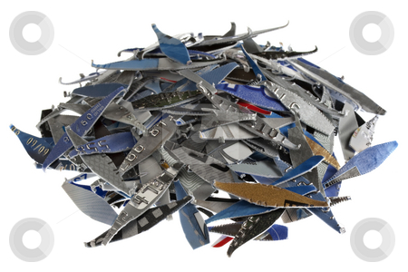 Credit cards shredded stock photo, A pile of old expired credit card shredded, isolated on white - protection against identity theft concept by Marek Uliasz