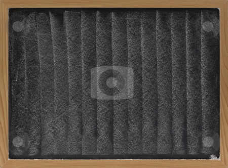 White chalk texture on blackboard stock photo, Texture of white chalk vertical smudges on blackboard in wooden frame by Marek Uliasz