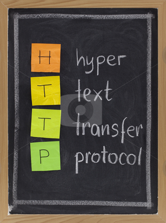 Hyper text transfer protocol  - http stock photo, Http (hyper text transfer protocol) acronym explained on blackboard, color sticky notes and white chalk handwriting by Marek Uliasz