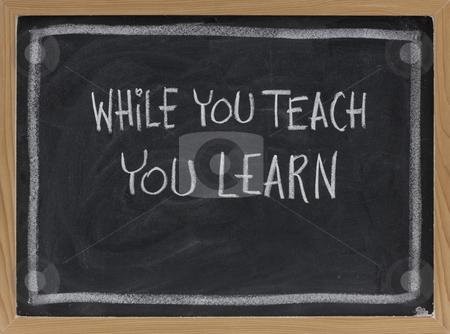 While you teach, you learn stock photo, While you teach, you learn - white chalk handwriting on blackboard by Marek Uliasz
