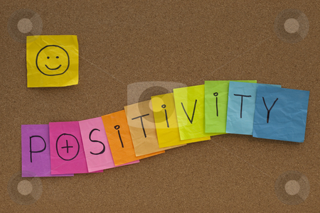 Positivity concept with smiley on cork board stock photo, Positivity concept on cork bulletin board - colorful sticky notes with a smiley by Marek Uliasz