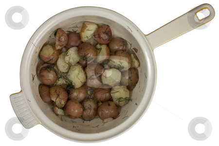 Freshly cooked young red potatos in a pot stock photo, A pot of freshly cooked yound red potatios prepared with salt, dill and melted butter, isolated on white, clipping path by Marek Uliasz