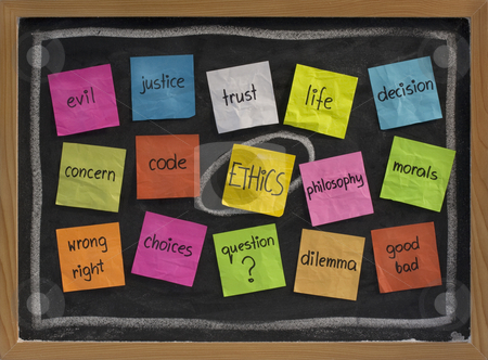 Ethics word cloud stock photo, Cloud of words related to ethics, color sticky notes on blackboard by Marek Uliasz