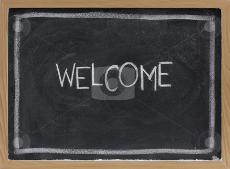 Welcome on blackboard stock photo, Welcome - white chalk handwriting on blackboard with eraser smudge texture by Marek Uliasz