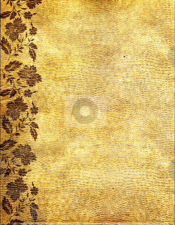 The old  relief  turned yellow paper  stock photo, The old  relief  turned yellow paper with the image of a flower by Olga Drozdova