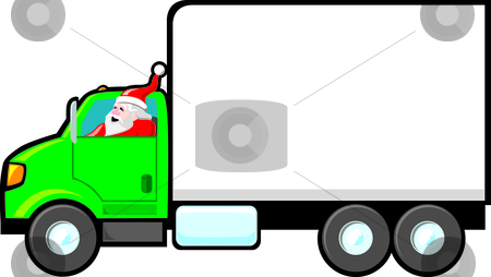 Santa Making a Delivery stock vector clipart, Santa driving a delivery truck. The side of the truck is blank and ready for a company logo, Holiday greeting, sale announcement, etc. by Jamie Slavy