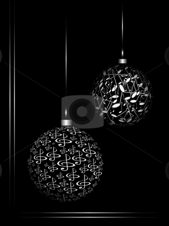 Notes and sphera stock photo, Christmas ornaments from the notes on black background by Alina Starchenko