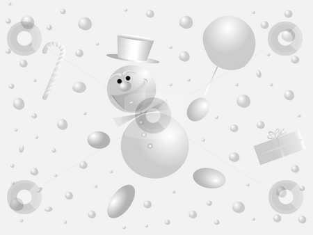 Snowman and snowballs stock photo, Fani snowman and snowballs on a light background by Alina Starchenko