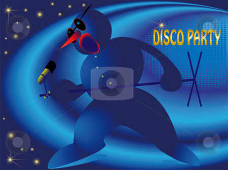 Snowman on the disco stock photo, Snowman with the microphone on the disco by Alina Starchenko
