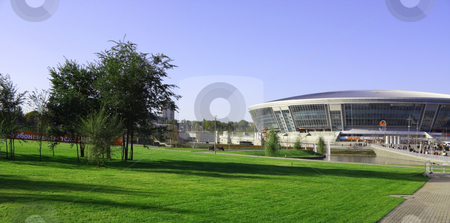 New football stadium stock photo, The new football stadium is ready to accept fans by Valerij Kotulskij