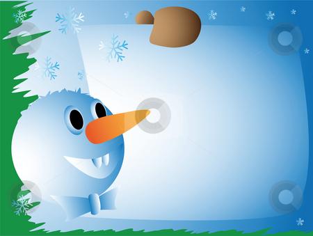 Snowman with a congratulatory card stock photo, Snowman with a congratulatory card on a blue background by Alina Starchenko