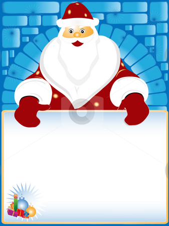 Santa Claus and card for the text stock photo, Santa Claus with card for the text in hands by Alina Starchenko