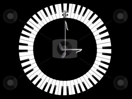 Clock-Piano stock photo, The image of clock with dial in the form of piano keys on black background by Alina Starchenko