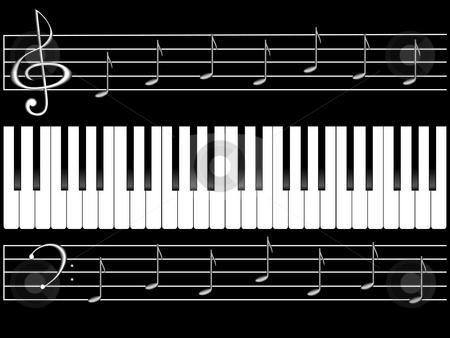 Piano keys and notes stock photo, Piano keys and notes on black background by Alina Starchenko