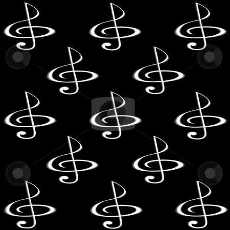 Musikal background stock photo, Treble clef of metal colour against black sguare by Alina Starchenko