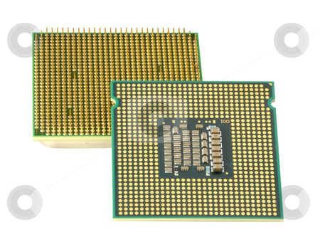 Two CPU, hyper DoF. stock photo, Computer accessories, modern central processors, isolated,  turned, hyper DoF. by Vladimir Blinov