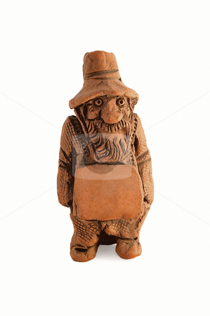 Clay figure of bearded old man with a tablet stock photo, Clay figure of bearded old man with a tablet. You can easily place your custom text on it by Pavel Filippov