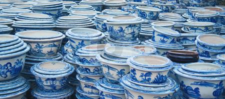 Stacks of ceramic pots stock photo, Stacks of ceramic pots by Pavel Filippov