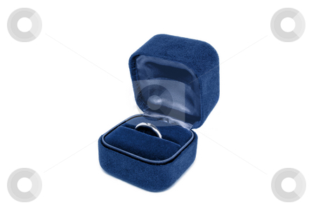 Diamond engagement ring in a velvet box stock photo, Diamond engagement ring in a dark blue velvet box isolated on white by Pavel Filippov