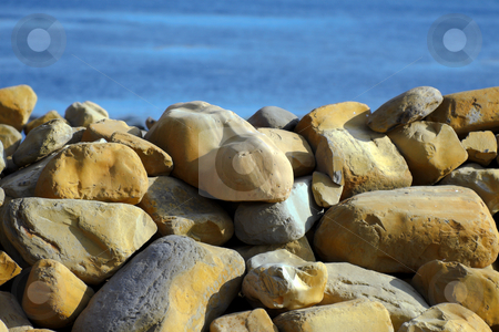 Coastal Protection stock photo, Large stones for coastal protection from the sea by Robert Ford
