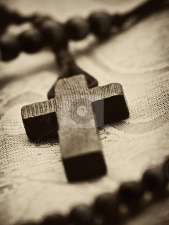 Wooden rosary cross stock photo, Rosary cross closeup, shallow DOF , sepia toned by Vladimir Koletic