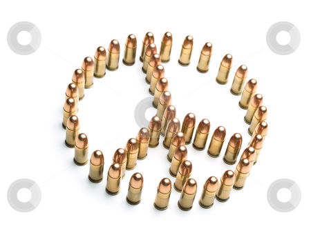 Deceiving peace stock photo, Peace symbol formed by bullets over white background, useful for themes such as peace,war,terrorism,military.. by Vladimir Koletic