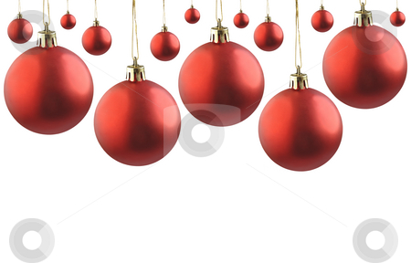 Christmas red balls. stock photo, Collage of red  christmas balls on white. by Liana Bukhtyyarova