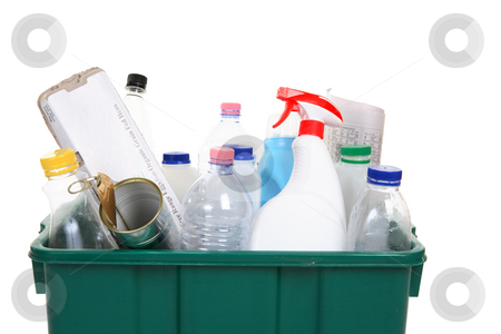 Items for recycling stock photo, A collection of empty bottles, cans, paper and other containers in a recycling bin by Leah-Anne Thompson