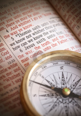 Compass and Bible stock photo, Compass and Bible by Leah-Anne Thompson
