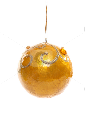 Yellow Christmas Bauble stock photo, Yellow resin Christmas bauble decorated with glitter and beads. by Leah-Anne Thompson
