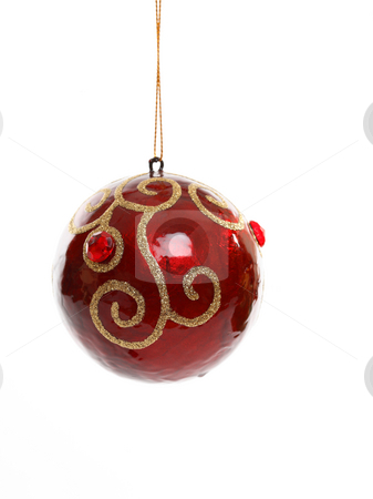 Decorated Christmas Ball stock photo, Red Christmas ball ornament decorated with beads and gold glitter swirls. by Leah-Anne Thompson