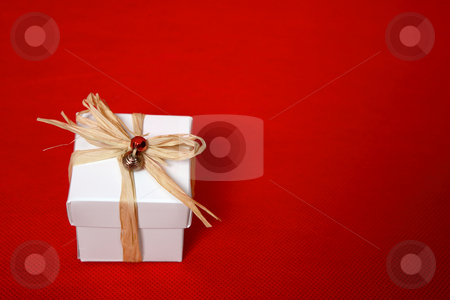 Christmas gift stock photo, Christmas, birthday or special occasion present.  Space for copy by Leah-Anne Thompson