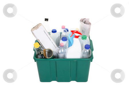 Recycling stock photo, A plastic container full of empty products for recycling. by Leah-Anne Thompson