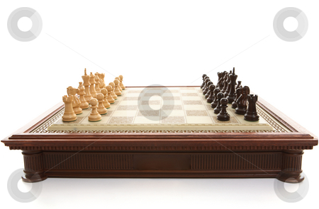 Chess Board and playing pieces stock photo, Chess board and wooden playing pieces by Leah-Anne Thompson