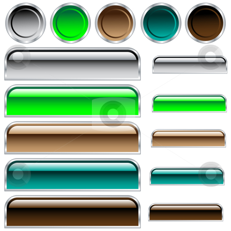 Web buttons in assorted shiny colors and shapes stock vector clipart, Buttons, scaleable glossy rounded rectangles and circles in assorted colors by toots77