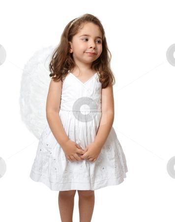 Little white angel looking sideways stock photo, Angel child dressed in white looking sideways. by Leah-Anne Thompson