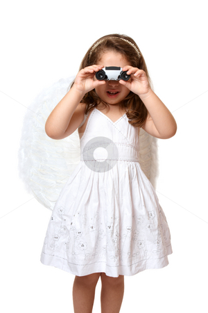 Angel using binoculars stock photo, Little angel watching over you or searching by Leah-Anne Thompson